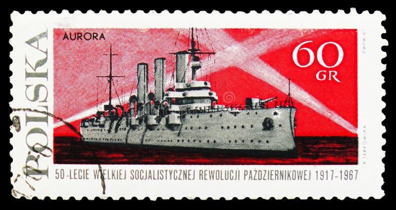 Aurora del crucero, revolución rusa, 50.o serie del aniversario, circa 1967 imágenes de archivo libres de regalías