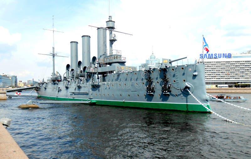 Aurora do cruzador do russo foto de stock