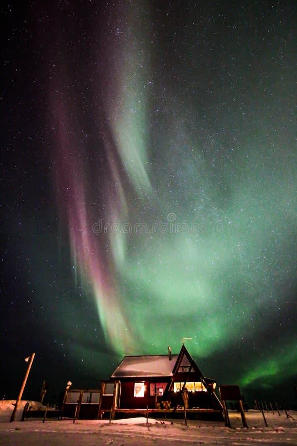 Aurora en Sandgerði, Islandia foto de archivo libre de regalías