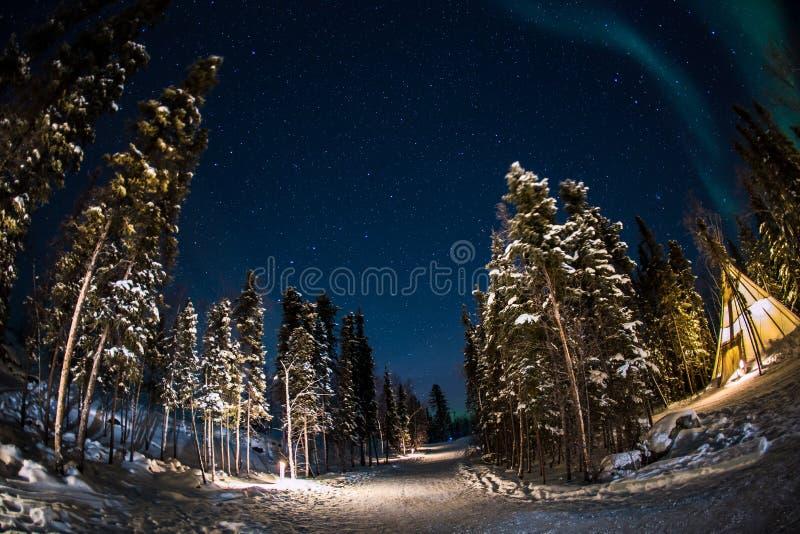Aurora en Yellowknife Canadá foto de archivo libre de regalías
