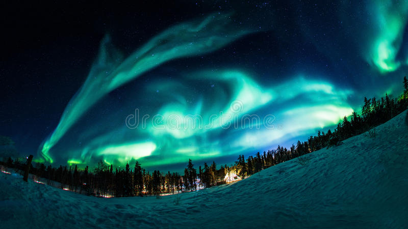 Aurora en Yellowknife Canadá imagen de archivo
