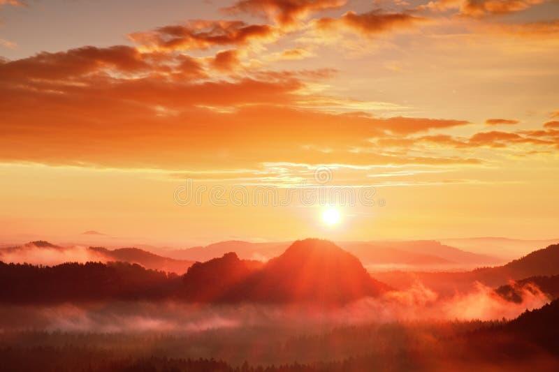 Aurora enevoada vermelha Manhã nevoenta do outono no montes bonitos Os picos dos montes estão colando para fora das nuvens colori imagens de stock royalty free