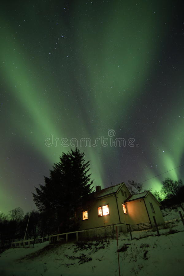 Aurora from the house royalty free stock image
