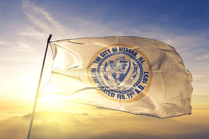 Aurora of Illinois of United States flag waving on the top. Aurora of Illinois of United States flag waving royalty free stock photos