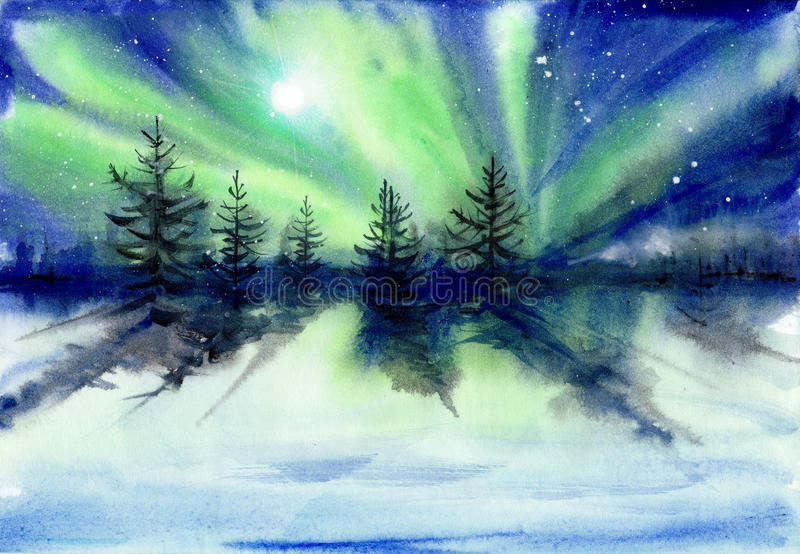 Aurora landscape watercolor painting. Beautiful Aurora landscape background with fir trees forest in far away. Original watercolor painting stock illustration