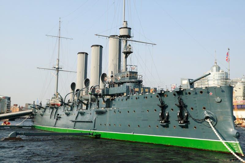 Aurora militar do cruzador fotografia de stock