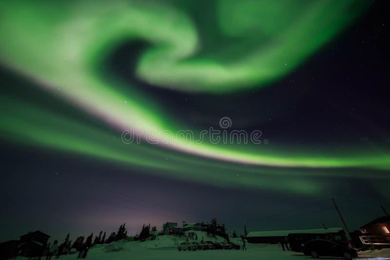 Aurora, night at alaska, fairbanks stock image