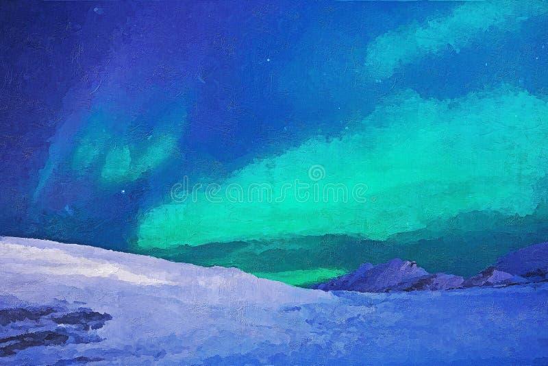 Aurora - pintura da faca do acrílico & de paleta na lona ilustração do vetor