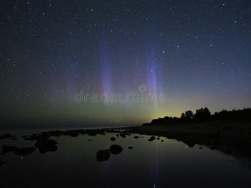 Night sky stars aurora polar lights big dipper constellation observing stock images