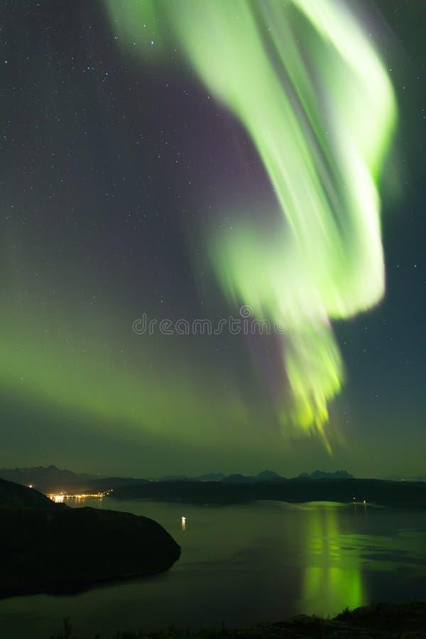 Aurora Portrait. Aurora protrait powerful aurora borealis over norwegian fjord royalty free stock image
