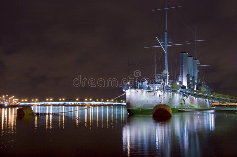 Aurora ship in the night. Armoured cruiser Aurora which started russian revolution in 1917, St.Petersburg, Russia royalty free stock photos