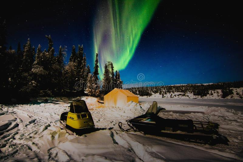 Aurora Snowmobile stock fotografie
