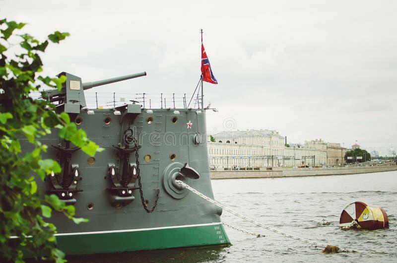 Aurora in St. Petersburg. Close-up. Famous tourist destination stock photo