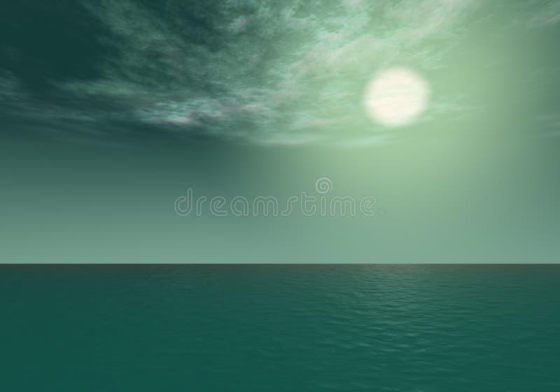 Aurora - Teal sunset above the sea horizon stock photos