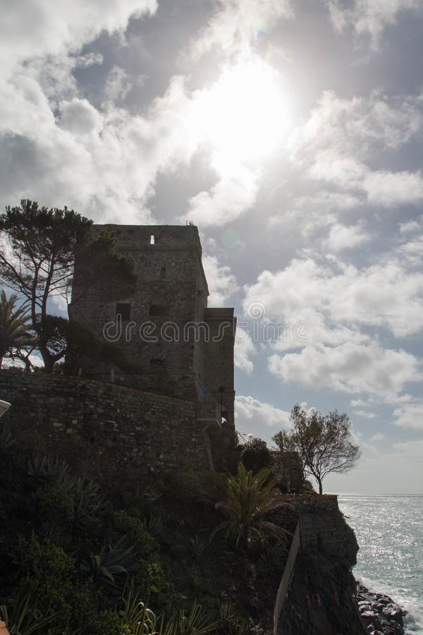 Aurora tower of Monterosso Castle in the National Park of Cinque Terre, Liguria, Italy royalty free stock image