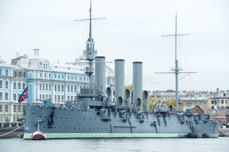 Aurora um navio do museu do russo fotografia de stock