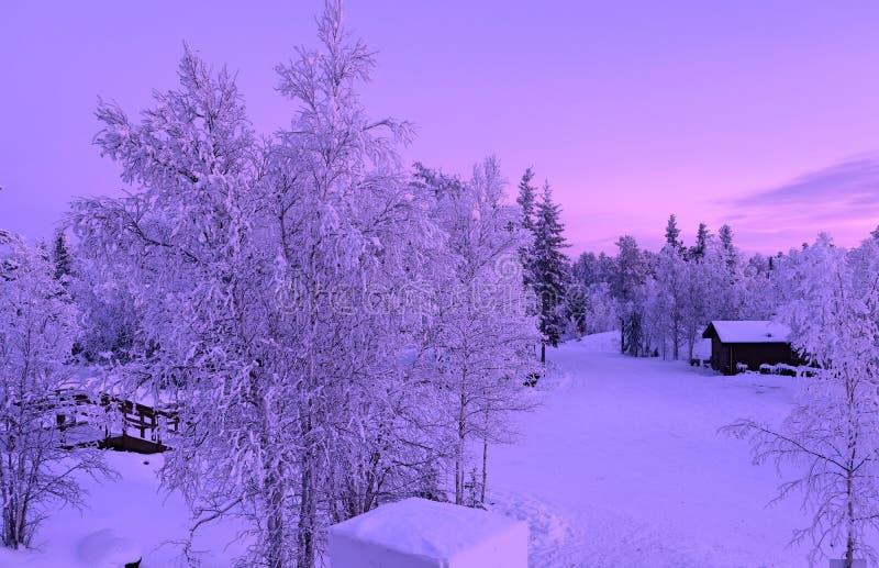 Aurora Village Winter Scene foto de archivo libre de regalías