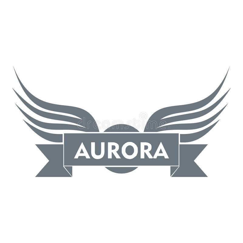 Aurora wing logo, simple gray style vector illustration