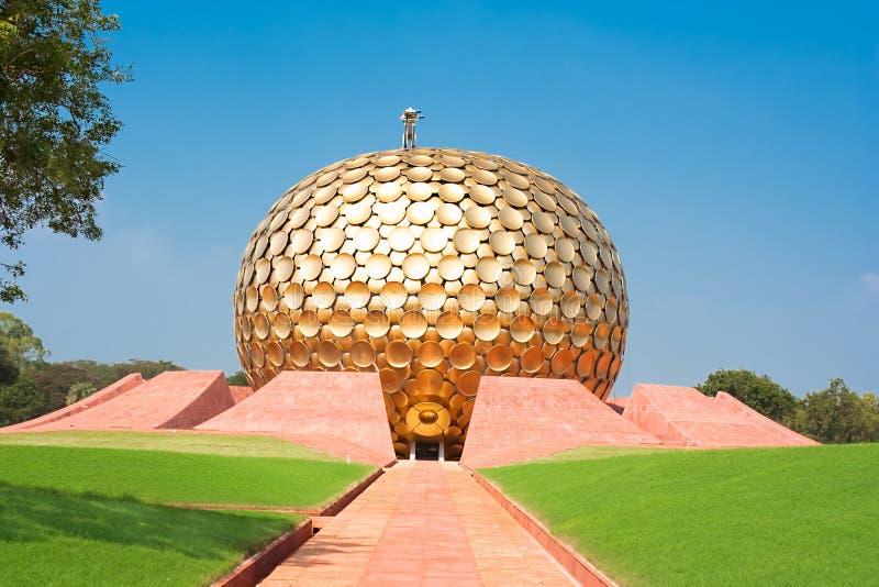 Auroville凝思大厅。 Pondicherry,印度 库存图片