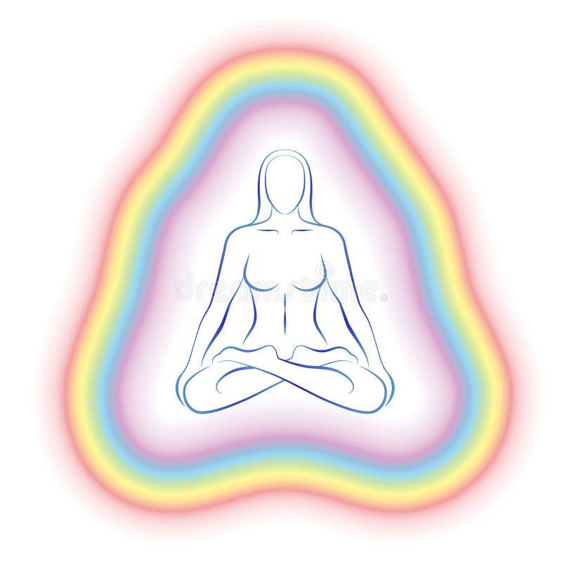 Aury medytaci ciała Subtelna kobieta ilustracji