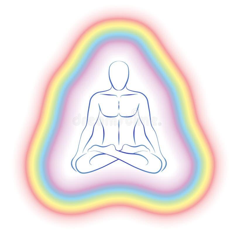 Aury medytaci ciała Subtelny mężczyzna ilustracja wektor
