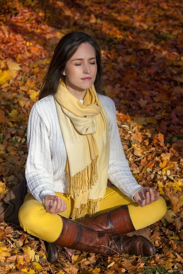 Ausübung von Yoga im Herbst stockfoto