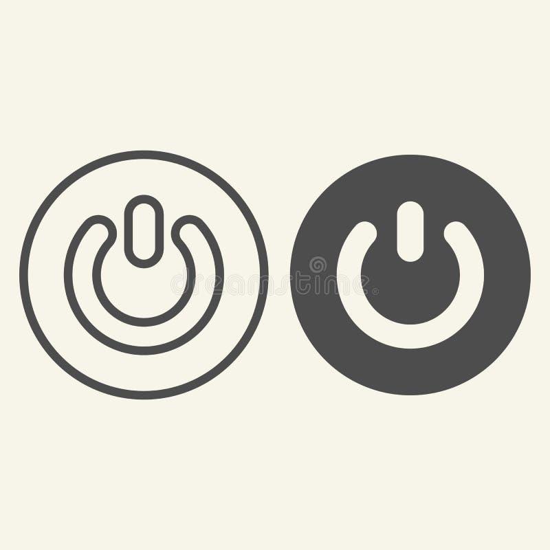An-/Aus-Schalter-Linie und Glyphikone Schaltervektorillustration lokalisiert auf Weiß Auf weg von Knopfentwurfs-Artentwurf stock abbildung