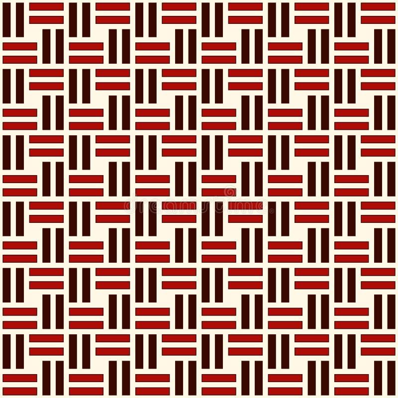 Aus Weiden geflochtenes nahtloses Muster Korbgeflechtmotiv Rote Farbgeometrischer abstrakter Hintergrund mit Überschneidungsstrei lizenzfreie abbildung