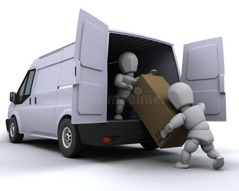 Ausbaumänner, die einen Packwagen laden vektor abbildung
