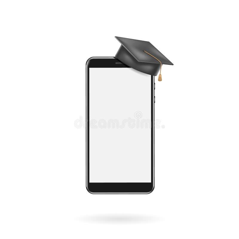 Ausbildung App, Smartphone mit Staffelungskappe, Schirmfreier raum Online erlernend Vektor-Schablonen-Illustration vektor abbildung