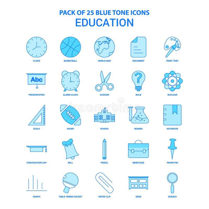 Ausbildung blaue Tone Icon Pack - 25 Ikonen-Sätze stock abbildung