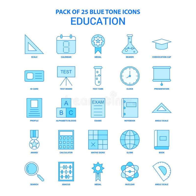 Ausbildung blaue Tone Icon Pack - 25 Ikonen-Sätze lizenzfreie abbildung