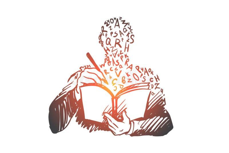 Ausbildung, Buch, Wissen, Studie, Hochschulkonzept Hand gezeichneter lokalisierter Vektor lizenzfreie abbildung