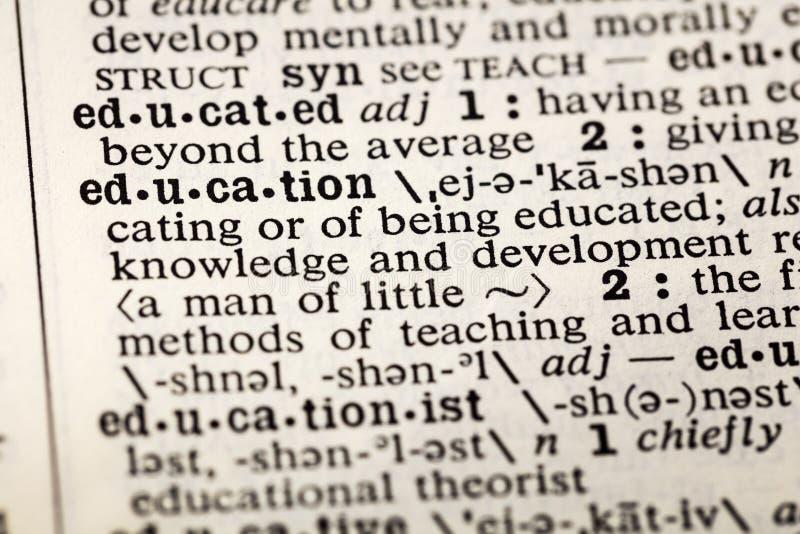 Ausbildung erziehen, Wörterbuchdefinition zu lernen stockbilder