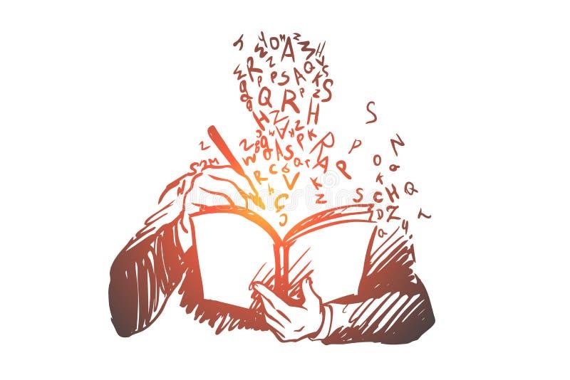 Ausbildung, Studie, Buch, Student, Wissenskonzept Hand gezeichneter lokalisierter Vektor lizenzfreie abbildung