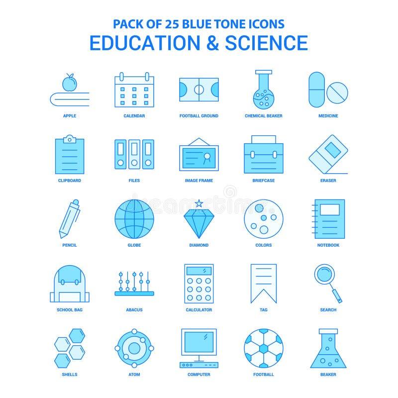Ausbildung und Wissenschaft blaue Tone Icon Pack - 25 Ikonen-Sätze lizenzfreie abbildung