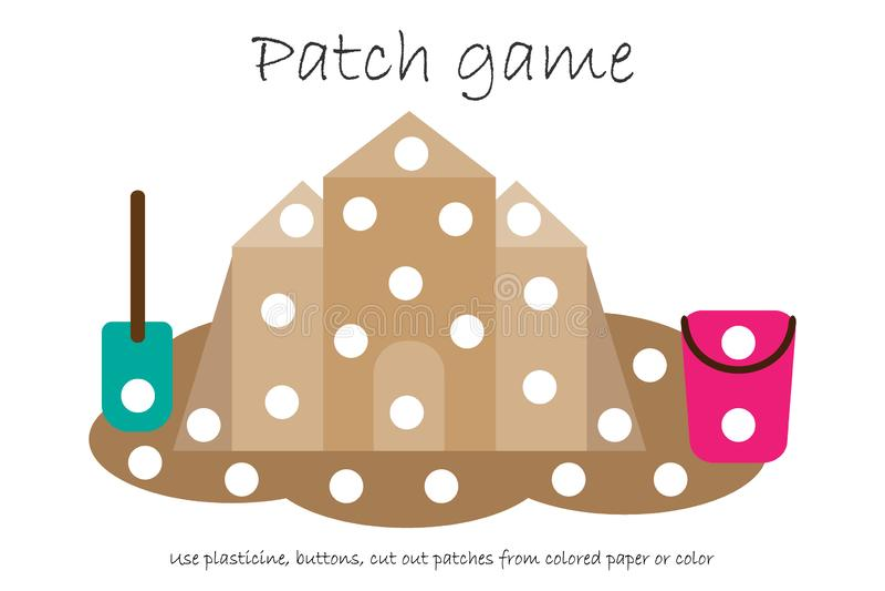 Ausbildungs-Fleckenspielsandburg, damit Kinder Bewegungsfähigkeiten, Gebrauch Plasticineflecken, Knöpfe, farbiges Papier oder Far lizenzfreie abbildung