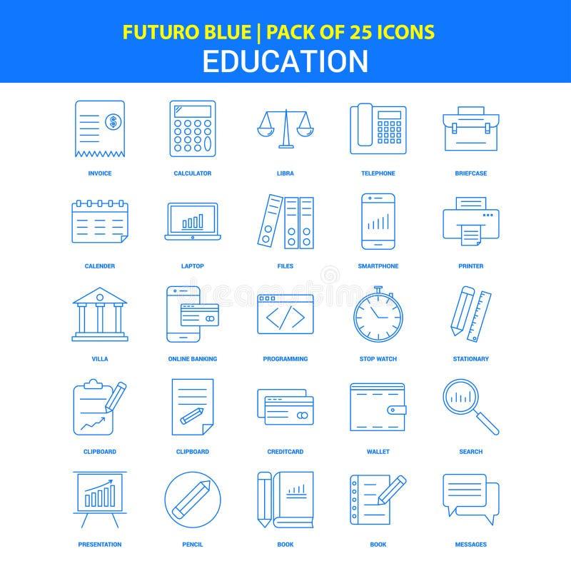 Ausbildungs-Ikonen - blauer Satz mit 25 Ikonen Futuro lizenzfreie abbildung