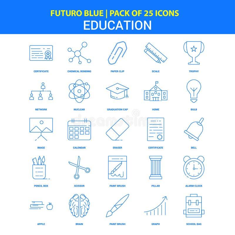 Ausbildungs-Ikonen - blauer Satz mit 25 Ikonen Futuro stock abbildung