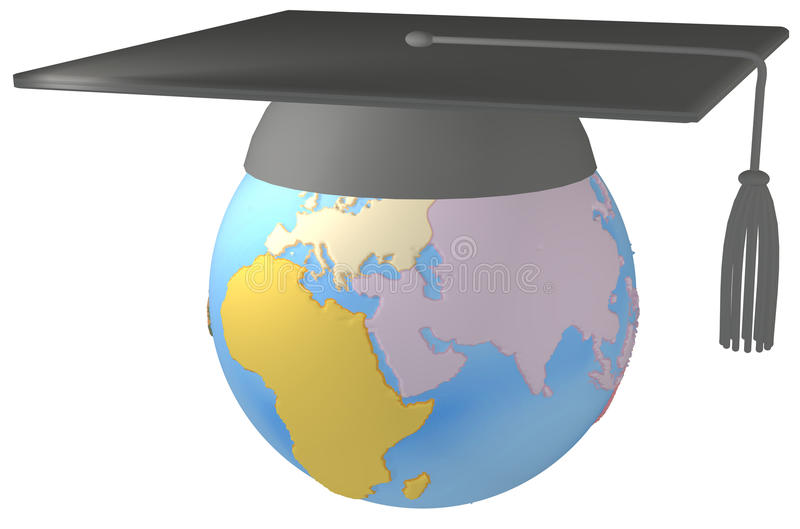 Ausbildungs-Mörtelvorstand Staffelung-Schutzkappe auf Erde lizenzfreie abbildung