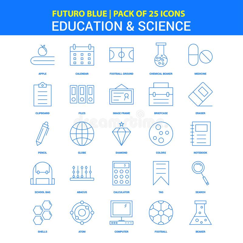 Ausbildungs-und Wissenschafts-Ikonen - blauer Satz mit 25 Ikonen Futuro stock abbildung