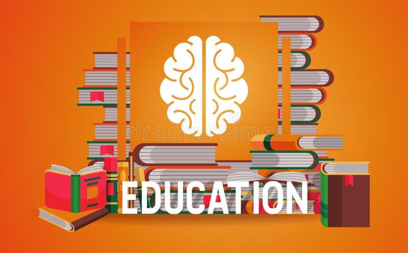 Ausbildungsfahne, Plakatvektorillustration Stapel von B?chern, offen und geschlossen Wissen, lernend Gehirnzeichen studieren lizenzfreie abbildung