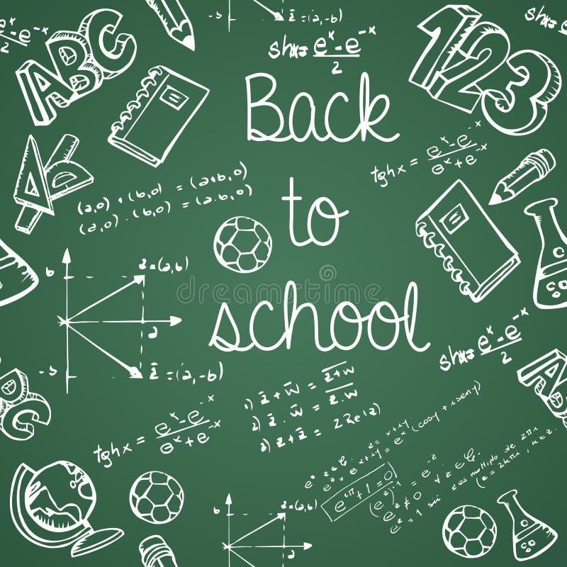 Ausbildungsikonen zurück zu Schule grünen nahtloses Muster der Tafel lizenzfreie abbildung
