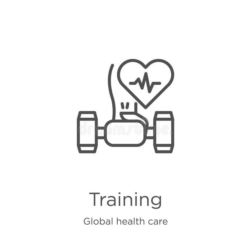Ausbildungsikonenvektor von der globalen Gesundheitswesensammlung D?nne Linie Ausbildungsentwurfsikonen-Vektorillustration Entwur vektor abbildung
