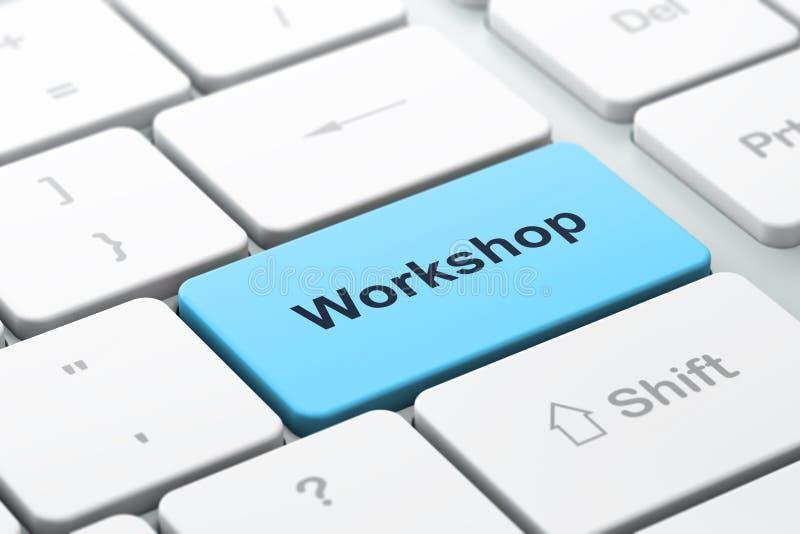 Ausbildungskonzept: Computertastatur mit Werkstatt vektor abbildung