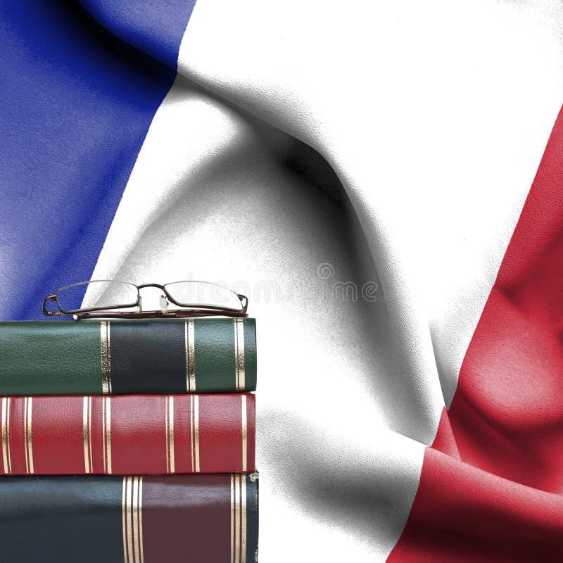 Ausbildungskonzept - Stapel Bücher und Lesebrille gegen Staatsflagge von Frankreich stockfoto