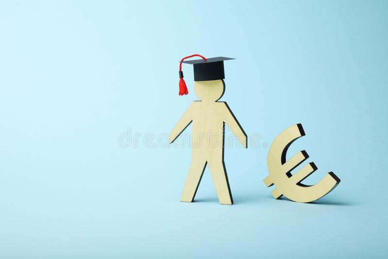 Ausbildungskosten im College und in der Schule Studentenkapital lizenzfreie stockbilder