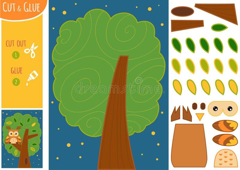 Ausbildungspapierspiel für Kinder, Nachtlandschaft Die Eule im Baum lizenzfreie abbildung