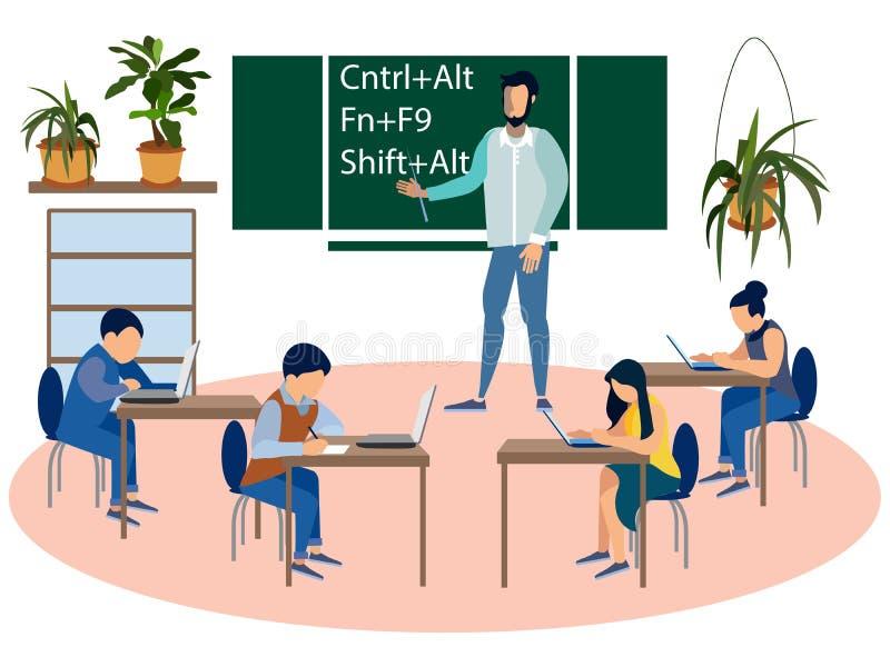 Ausbildungsprogrammierer, Informatiklektion Kinder an der Schule Im flachen Raster unbedeutender Art Karikatur stock abbildung