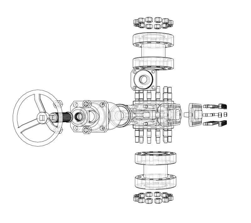 Ausblasenverhinderer Vektor-Wiedergabe von 3d stock abbildung
